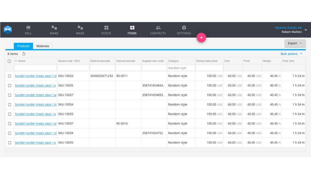 Barcode inventory management with Katana.