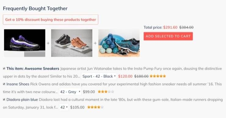 Shopify app which displays frequently bought together items.