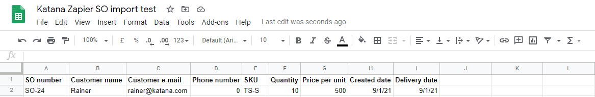 Using Google Sheets to import sales orders to Katana.