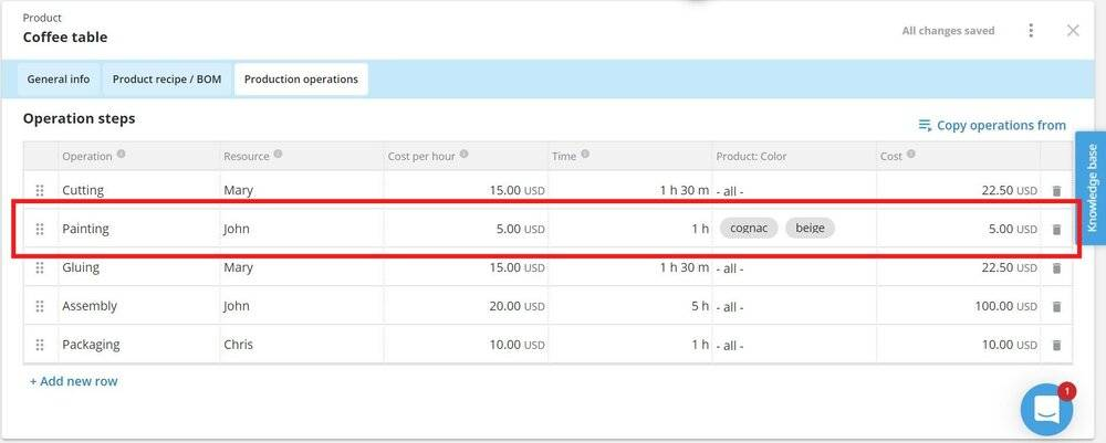 Within your product card, you can now define different process steps for specific variants.