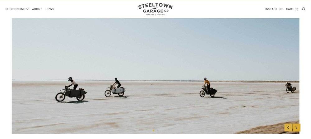 """The Shopify slideshow images used by """"Steeltown Garage Co"""" guys are simply stunning. Super stylish and show off the brand right off the bat. You don't need to think long and hard to read any messages here, just breathe that sleek air."""
