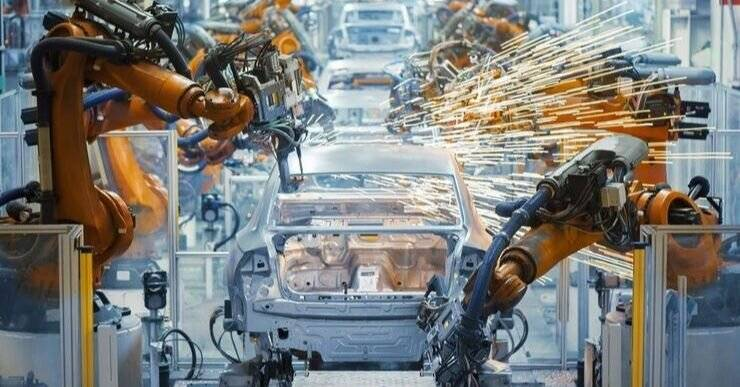 This is repetitive manufacturing in action at an automobile production plant.