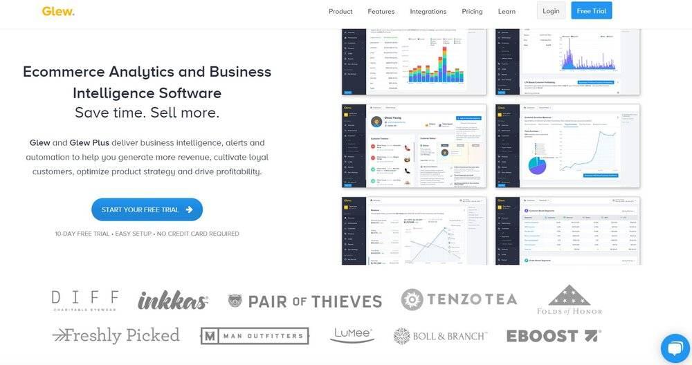Glew Shopify app for analytics.