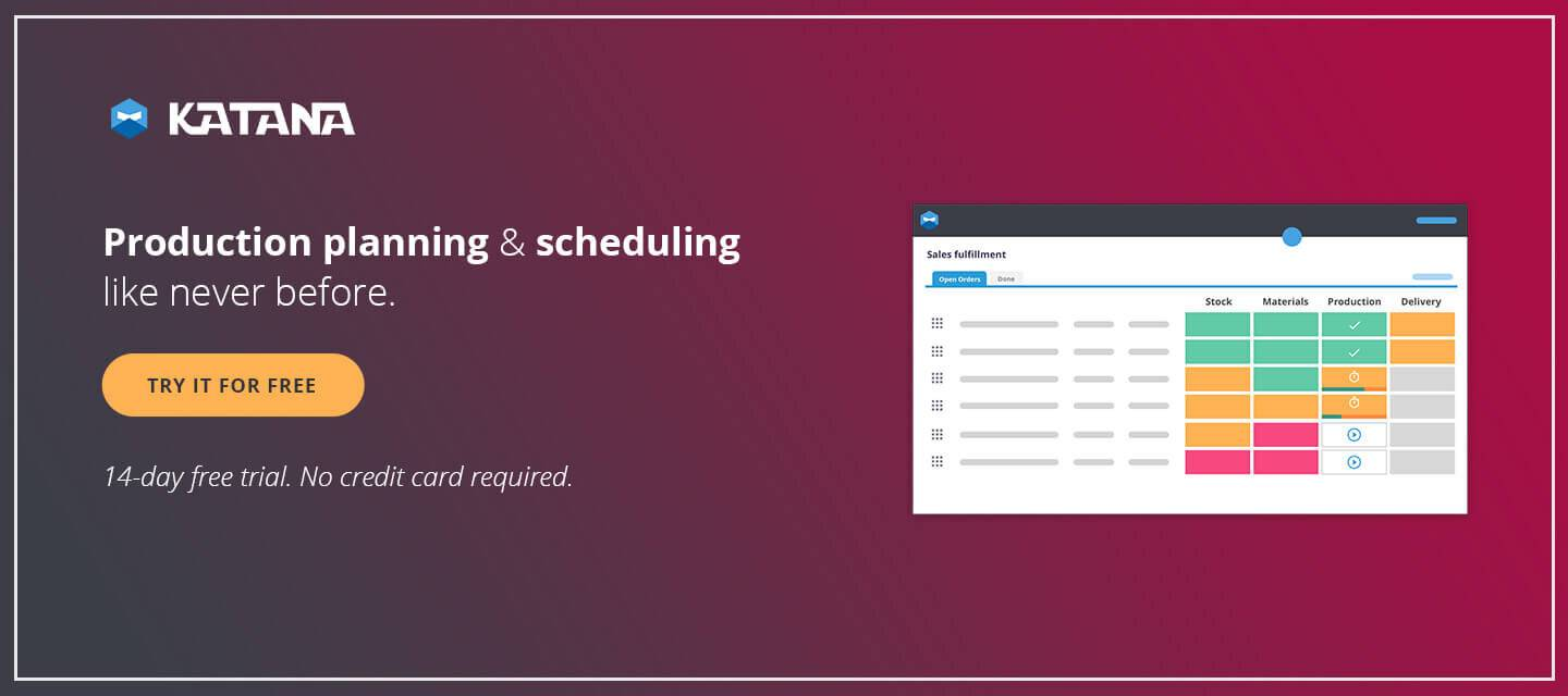 Production planning and scheduling with Katana MRP software.