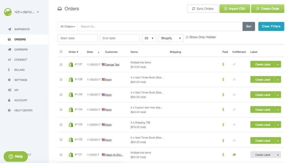 Shippo Shopify App.