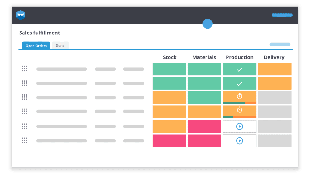 Katana has been designed with the manufacturing startups eyes in mind. You can follow your sales and manufacturing orders from start to finish without having to leave the dashboard.