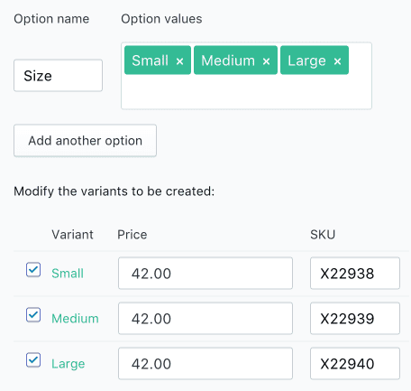Shopify product variant and how it looks to edit the fields