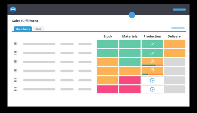 Visual grid of a smart workshop software
