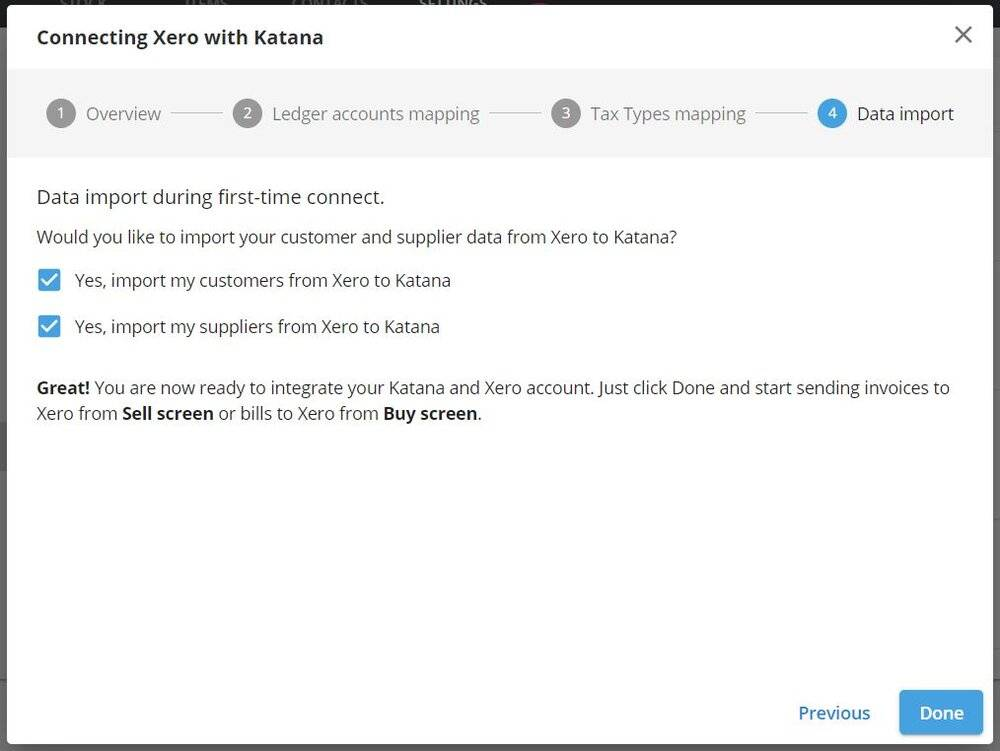 Using the import features, you can easily bring over your Xero inventory management to Katana.