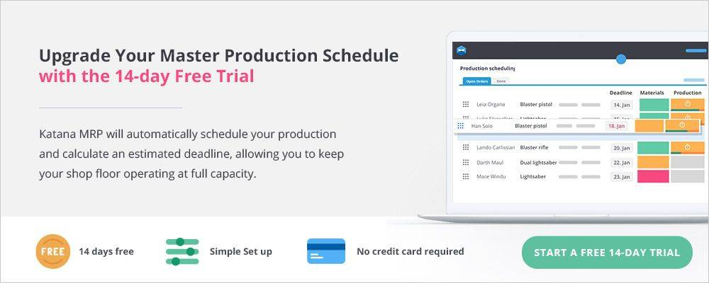 Free sign up to Katana to reduce manufacturing lead times down to the levels you want. MRP Software provides the solution.